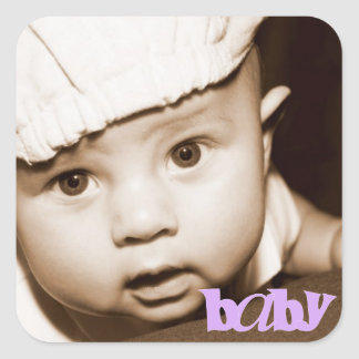 "Personalized Photo ""Baby"" Sticker in Purple"
