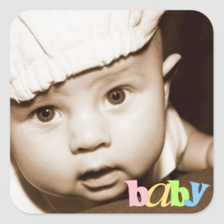 """Personalized Photo """"Baby"""" Sticker in Rainbow"""