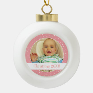 Personalized Photo Ball Pink Ornaments