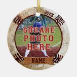 Personalized PHOTO Baseball Ornaments NAME, YEAR