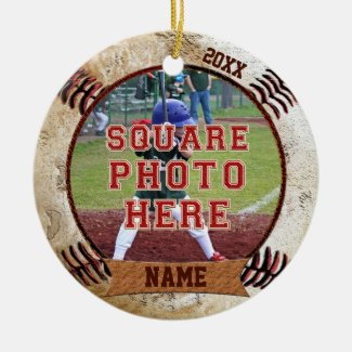 Personalized PHOTO Baseball Ornaments NAME, YEAR