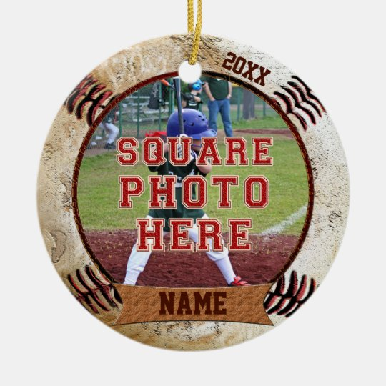 personalized photo baseball ornaments name year