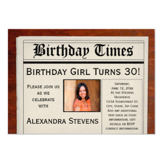 Personalized Photo Birthday Party Newspaper 5x7 Paper Invitation Card