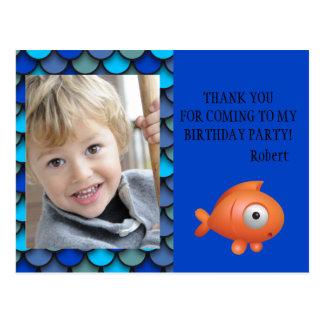 Personalized Photo Birthday Thank You Under Sea Postcard