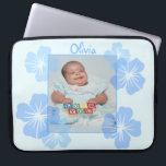 "Personalized Photo Blue Floral Computer Sleeve<br><div class=""desc"">A pretty blue floral design. Customize it by adding your images and text!</div>"
