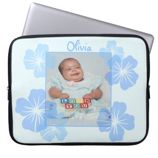 Personalized Photo Blue Floral Computer Sleeve