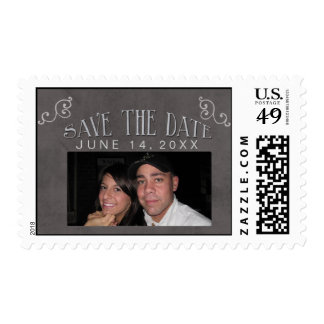 Personalized photo chalkboard save the date postage