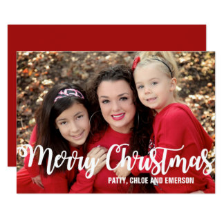 Personalized Photo Christmas Card, Red and White Card