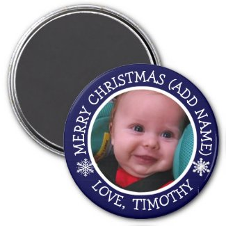 Personalized Photo Christmas Snowflakes Magnet
