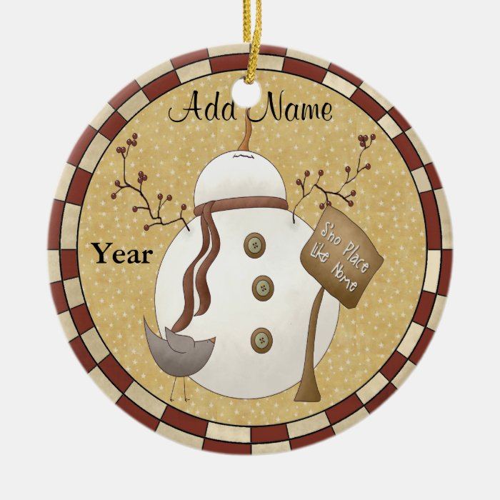 Personalized photo christmas snowman ornament zazzle for Personalized christmas photo ornaments
