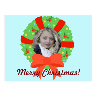 Personalized Photo Christmas Wreath Postcard
