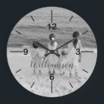 """Personalized Photo Clock Customized with Name<br><div class=""""desc"""">This Personalized Photo Clock would make a great gift for the new office - at home or at work. Customize this clock with your own family photo and your name just below the center in a gray and white script. If the text gets lost on your photo, click customize to...</div>"""