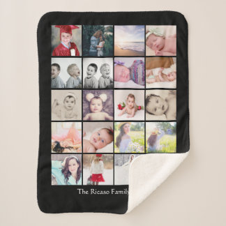 Personalized Photo Collage 20 photo One of a Kind Sherpa Blanket