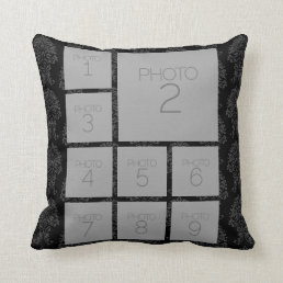 Personalized Photo Collage - 9 photos black Throw Pillow
