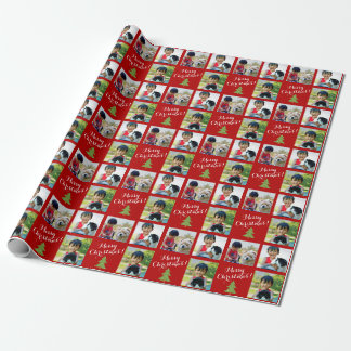Personalized Photo Collage Custom Script Christmas Wrapping Paper