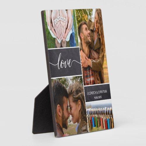 Personalized Photo collage Love Script Couple Plaque