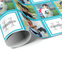Personalized Photo Collage Monogram Initial Name Wrapping Paper