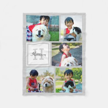 Personalized Photo Collage Monogrammed Gray Gift Fleece Blanket