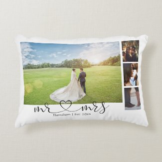 Personalized Photo Collage Mr and Mrs Heart Accent Pillow