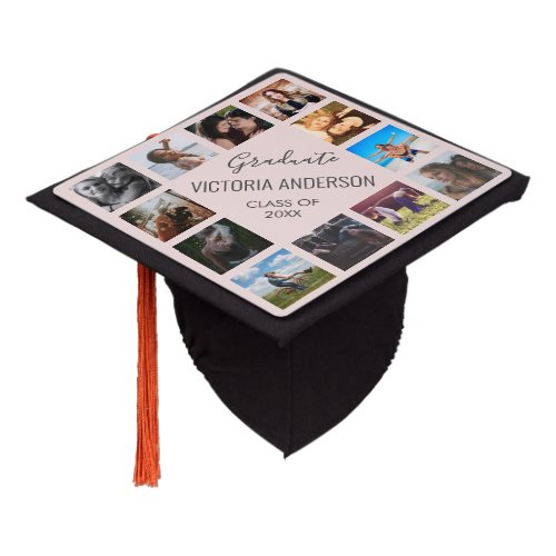 Personalized Photo Collage Name Year Blush Pink Graduation Cap Topper