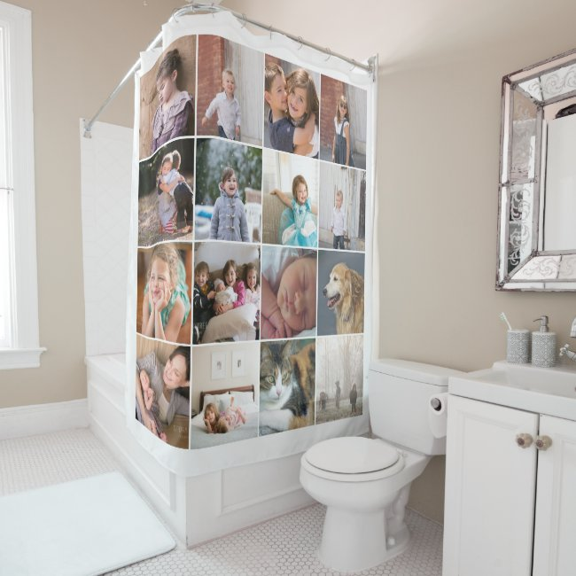 Personalized photo collage with sixteen photos shower curtain