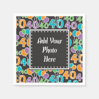 Personalized Photo Colorful 40th Birthday Napkin