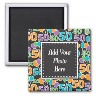Personalized Photo Colorful 50th Birthday Magnet