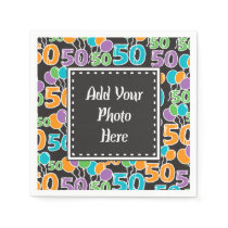 Personalized Photo Colorful 50th Birthday Paper Napkin