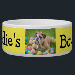"""Personalized Photo Custom Color Dog Bowl<br><div class=""""desc"""">Great custom pet gift for dog or cat owners. Add your dog's picture to this cute dog bowl with their name and paw prints. This one is yellow but you can change the color in the personalize area.</div>"""