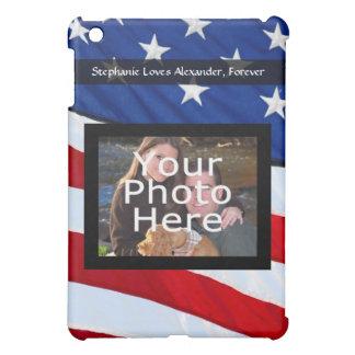 Personalized Photo Custom USA Patriotic Flag iPad Mini Case
