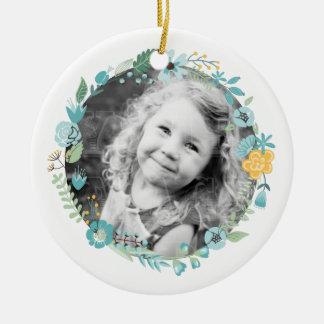 Personalized Photo Delicate Floral Wreath Ceramic Ornament