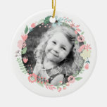 Personalized Photo Delicate Floral Wreath Double-Sided Ceramic Round Christmas Ornament