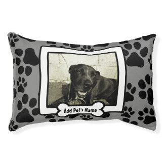 Personalized Photo Dog Bed Gray Paw Prints