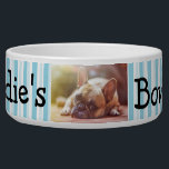 """Personalized Photo Dog Bowl<br><div class=""""desc"""">Great custom pet gift for dog or cat owners. Add your dog&#39;s picture to this cute dog bowl with their name and paw prints.</div>"""