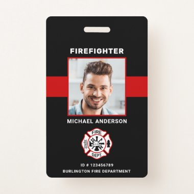 Personalized Photo Firefighter ID Fireman ID Card  Badge