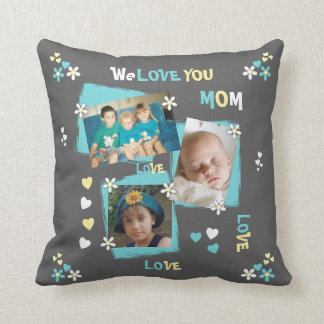 Personalized Photo for Mom Mum gray floral Throw Pillow