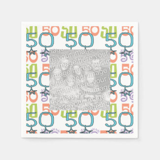 Personalized Photo Funky Colorful 50th Birthday Paper Napkin