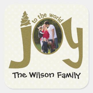 Personalized Photo Glitter Joy to the World Square Sticker