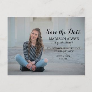 Personalized Photo Graduation Save the Date Announcement Postcard