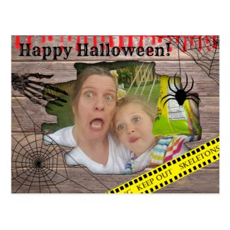 Personalized Photo Halloween Trapped Behind Wall Postcard