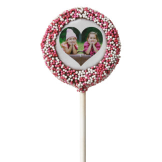Chocolate Covered Oreos -  Personalized | Photo Heart Chocolate Dipped Oreo Pop
