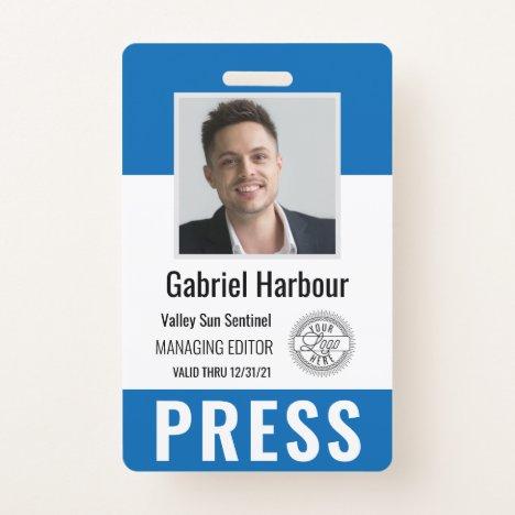 Personalized Photo ID & Logo Journalist Press Pass Badge