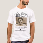 """Personalized Photo In Loving Memory T-Shirt<br><div class=""""desc"""">Funeral memorial t-shirt featuring a photograph of your lost loved one,  the text """"in loving memory"""",  their name,  birth/death dates,  a black heart,  and the remembrance saying """"gone but never forgotten"""".</div>"""
