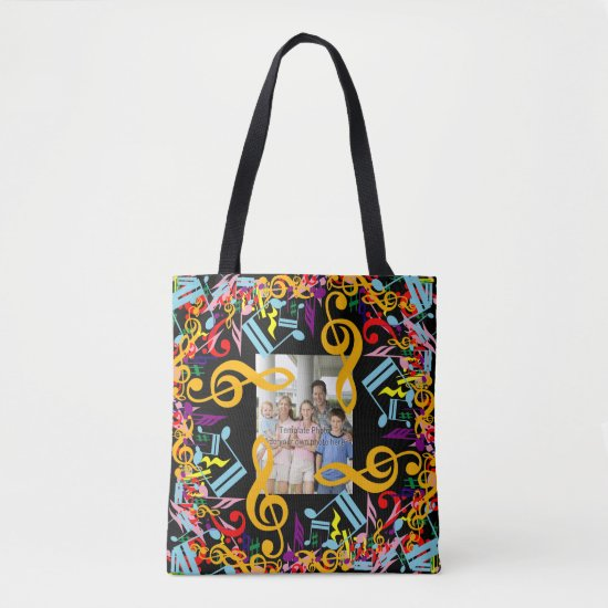 Personalized Photo Jumbled Music Notes Tote Bag