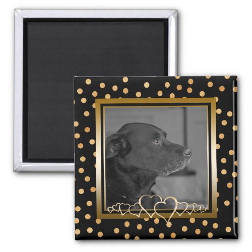 Personalized Photo Keepsake Black Gold Polka Dots Magnet