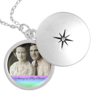 Personalized Photo Keepsake Rainbow Trim Silver Plated Necklace