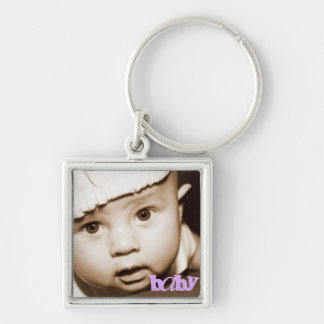 """Personalized Photo Keychain """"Baby"""" in Purple"""