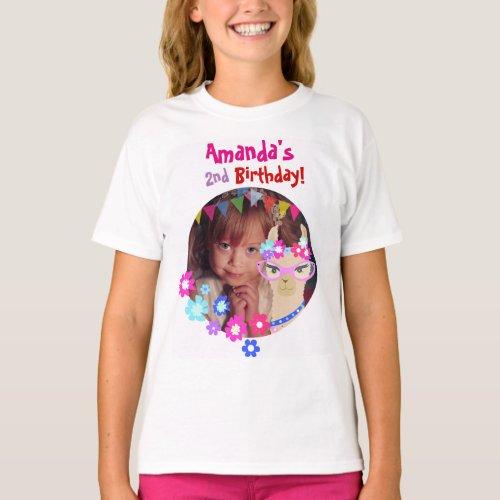 Personalized Photo Llama Birthday party girls T_Shirt