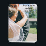 """Personalized Photo Magnet<br><div class=""""desc"""">Display one of your favorite wedding images on this magnet and customize it with your names and the date of the wedding ceremony.</div>"""