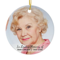 Personalized Photo Memorial In Loving Memory Ceramic Ornament